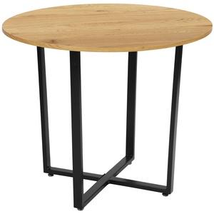 Meuble Cosy Eiche Esstisch Rund Küchentisch Modern Wohnzimmertisch Holztisch für Büro Küche, 80x80x75cm