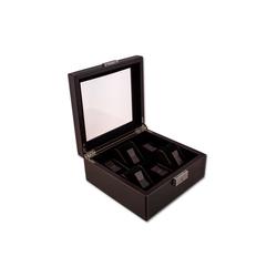 NIVREL Uhrenbox Uhrenkasten (1-tlg., inkl. Poliertuch), Edle Sammlerbox für 6 Uhren mit Sicherheitsschloss und Sichtfenster braun