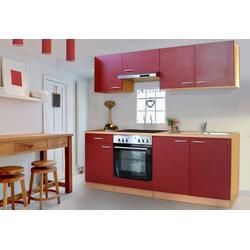 RESPEKTA Küchenzeile Basic, mit Glaskeramik-Kochfeld, Breite 210 cm rot