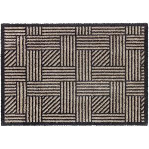 Schöner Wohnen Kollektion Rutschhemmende Sauberlaufmatten Manhattan – waschbarer Teppichläufer – strapazierfähige Schmutzfangmatten – (Streifengitter beige-anthrazit, 50 x 70 cm)