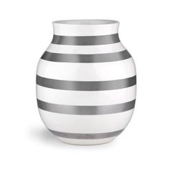 Kähler Tischvase Vase Omaggio weiß mit silber 20cm