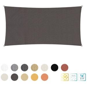 Lumaland Sonnensegel Dunkelgrau inkl. Befestigungsseile Rechteck 2 ..., 160 g/m² Polyester mit doppelter PU-Beschichtung UV-Schutz 30+ grau