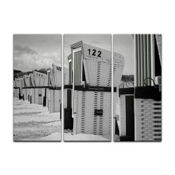 Bilderdepot24 Leinwandbild, Leinwandbild - Strandkörbe - schwarz weiß 150 cm x 90 cm