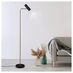 etc-shop Stehlampe, Steh Lampen Leuchten Wohnzimmer Leselampe Stehlampe, Spot beweglich, schwarz messing, 1x GU10, H 151 cm