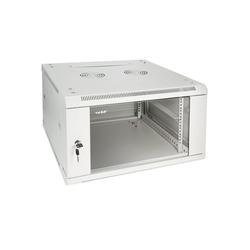 HMF Serverschrank 19 Zoll, Tiefe: 60 cm, 6-9 HE Netzwerk-Switch (6 HE, Netzwerkschrank voll Montiert, 60 x 60 x 37 cm, Lichtgrau) 60 cm x 37 cm x 60 cm
