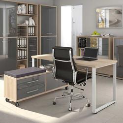 Büro Computertisch in Grau und Eiche Optik Sitz Rollcontainer (2-teilig)