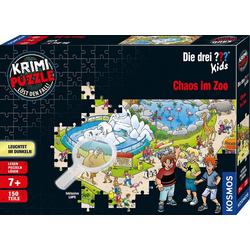 Kosmos Puzzle Krimipuzzle Die drei ??? Kids 150 Teile / Chaos im Zoo, 150 Puzzleteile, leuchtet im Dunkeln, Made in Germany