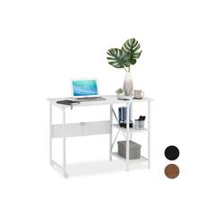 relaxdays Schreibtisch Schreibtisch klappbar mit Ablagen