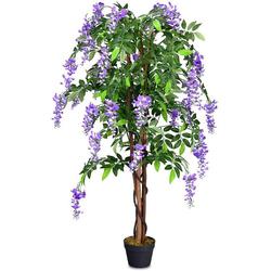Kunstbaum Zimmerpflanze Deko, COSTWAY, Höhe 150.00 cm grün 150.00 cm
