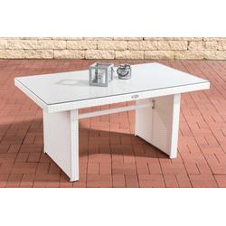 CLP Gartentisch Tisch Fisolo ca. 140 x 80 cm, mit einer Tischplatte aus Glas weiß