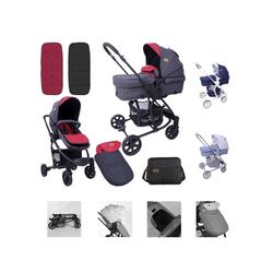 Lorelli Kombi-Kinderwagen Kombikinderwagen Aster 2 in 1, Schwenkräder, Fußsack, Tasche, Sonnendach rot