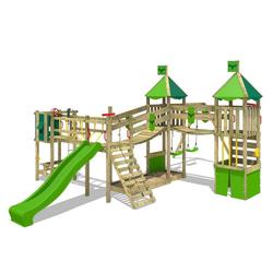 FATMOOSE Spielturm Ritterburg FunnyFortress mit Schaukel & apfelgrüner Rutsche, Spielhaus mit Sandkasten, Leiter & Spiel-Zubehör