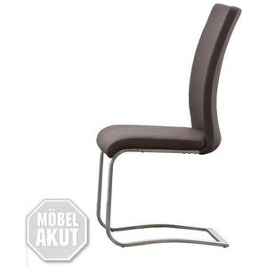 Stuhl Arco 6er Set Freischwinger Stühle in Echtleder Braun und Edelstahl
