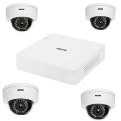 Netzwerk-IP Videoüberwachung Set für Außenbereich 4xIR Netzwerk-Domekamera, 4 Kanal IP Netzwerk Rekorder mit PoE NVR -IS-IPKS39