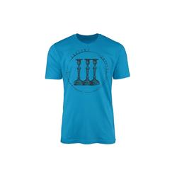 Sinus Art T-Shirt Vintage Herren T-Shirt Kerzenständer blau XXL