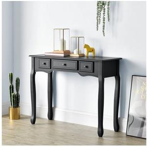 en.casa Konsolentisch, Hirschhorn - 100x35x78cm - Schwarz schwarz