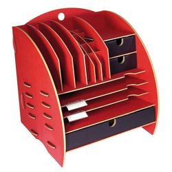 WERKHAUS® Briefablage Werkhaus - Ablage Leo Organizer Rot Briefablage Stiftehalter Schreibtisch Holz