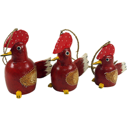 Guru-Shop Dekofigur 3er Set Anhänger, Kleine Holzfigur, Tierfigur.. rot