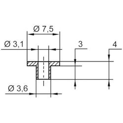 TRU Components TC-V5816-203 Isolierscheibe Außen-Durchmesser: 7.5 mm, 3.6mm Innen-Durchmesser: 3.1m