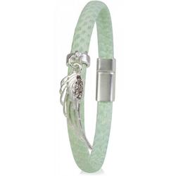 styleBREAKER Armband Schmales Armband mit Flügel und Strass, Schmales Armband mit Flügel und Strass grün