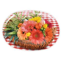 Lashuma Tablett Blumenkorb, Melamin, Tablett oval mit Motiv, Dekotablett zum Servieren 28 cm x 40 cm x 1.5 cm
