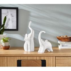 Dekofigur »Elefanten« (2er-Set), Dekofiguren, 39295302-0 weiß 7/9x14/11x18/27 cm weiß