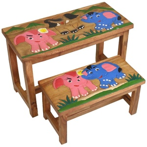 Kinder Bank Sitzgruppe Bank Tischgruppe Esstisch Bankset Elefanten 2er Set