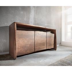 DELIFE Dressoir Live-Edge acacia bruin 145 cm 3 deuren, Ladekasten & kasten