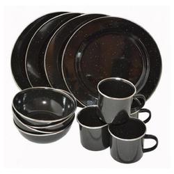 A. Blöchl Geschirr-Set Essgeschirr Emaille schwarz neu (12-tlg. / 4 Personen) (12-tlg), emaillierter Stahl, ideal für Camping und Outdoor