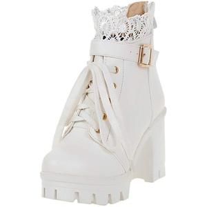 Allence Damen Blockabsatz Stiefeletten Schnürung Plateau High Heels Boots mit Schnalle 10cm Absatz Warm Schuhe