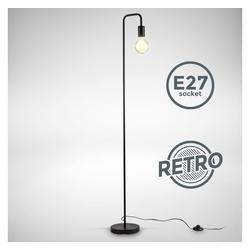 B.K.Licht Stehlampe, Retro Stehlampe gebogen Höhe 140 cm E27 1-flammig Fußtaster Metall Matt-Schwarz ohne Leuchtmittel