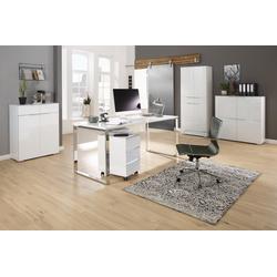 Maja Möbel Büromöbel-Set MAJA YES, (Set 2), in weiß matt / Weißglas