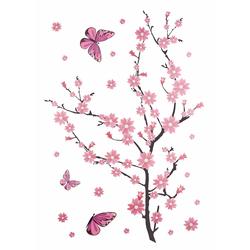 Wandtattoo »Kirschblüten mit Schmetterlingen«, Wandtattoos, 628023-0 rosa 118x80 cm rosa