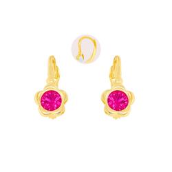 Stella-Jewellery Paar Ohrstecker 585 Gold Kinder Klappbrisur Ohrringe Blume Model 1, Ohrhänger Kinder Mädchen