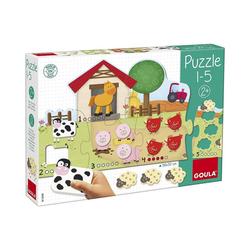 Goula Steckpuzzle Puzzle 1-5 mit Bauernhoftieren aus Holz, Puzzleteile
