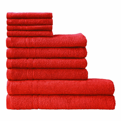 Dyckhoff Handtuch Set Kristall, mit feiner Bordüre rot Handtuch-Sets Handtücher Badetücher