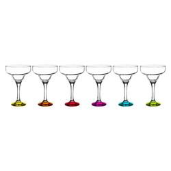 Sendez Martiniglas 6-teiliges Margarita Gläser mit bunten Füßen Marguerita Bargläser Cocktailgläser Margaritagläser