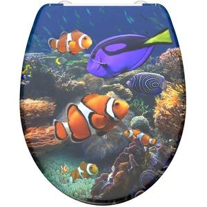 WC-Sitz - Toilettendeckel | Klodeckel mit Absenkautomatik & Schnellverschluss | Duroplast | Toilettensitz mit Muster (Korallenriff)