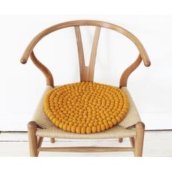 Wooldot Sitzkissen Uni Color, rund, Filzkugel-Teppich, reine Wolle, auch als Set bestellbar gelb
