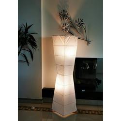 TRANGO LED Stehlampe, 1209 Papier Standleuchte *LADY* Reispapier Lampe in weiß *HANDMADE* inkl. 2x E14 Fassung I Form: konkav I Höhe ca. 123cm I Wohnzimmer Lampe, Lampenschirm aus Papier, Stehleuchte 200 cm x 123 cm