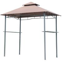 Outsunny Grillpavillon mit Doppeldach 1,5 x 2,45 m kaffeebraun/schwarz