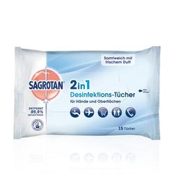 SAGROTAN 2in1 Desinfektions-Tücher 15 St