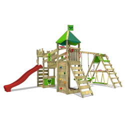 FATMOOSE Spielturm Ritterburg RiverRun mit Schaukel SurfSwing & Rutsche, Spielhaus mit Sandkasten, Leiter & Spiel-Zubehör rot