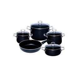 Riess Topf-Set Kochgeschirr-Set 5-tlg. Black Magic, Premium-Email, (5-tlg), Topfset grau
