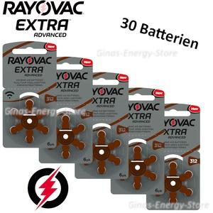 30 X Hörgerätebatterien Typ 312 Rayovac Extra Advanced Zl3