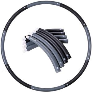joofang 1,8 KG Hula Hoop 8 Teile,100cm Reifen Fitness Erwachsene Einfach zusammensteckbar Abnehmen Hula Hoop Abnehmbare Abschnitte, Professionelle Hula Hoops zur Gewichtsreduktion (schwarz + grau)