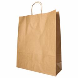 Papiertragetaschen mit Papierkordel Kordeltasche 40 x 32 x 12 cm braun, 25 Stk.