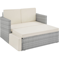 Tectake Korfu Rattan Lounge Variante 2 hellgrau
