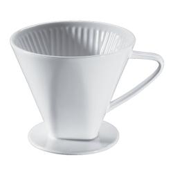 Cilio Kaffeefilter, weiß, Weiß glasierter Filter aus Keramik mit einem Loch, Durchmesser: 16 cm