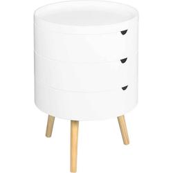 Woltu Nachttisch, Nachttisch & Nachtkommode mit Stauraum aus Holz in Farbe Weiß